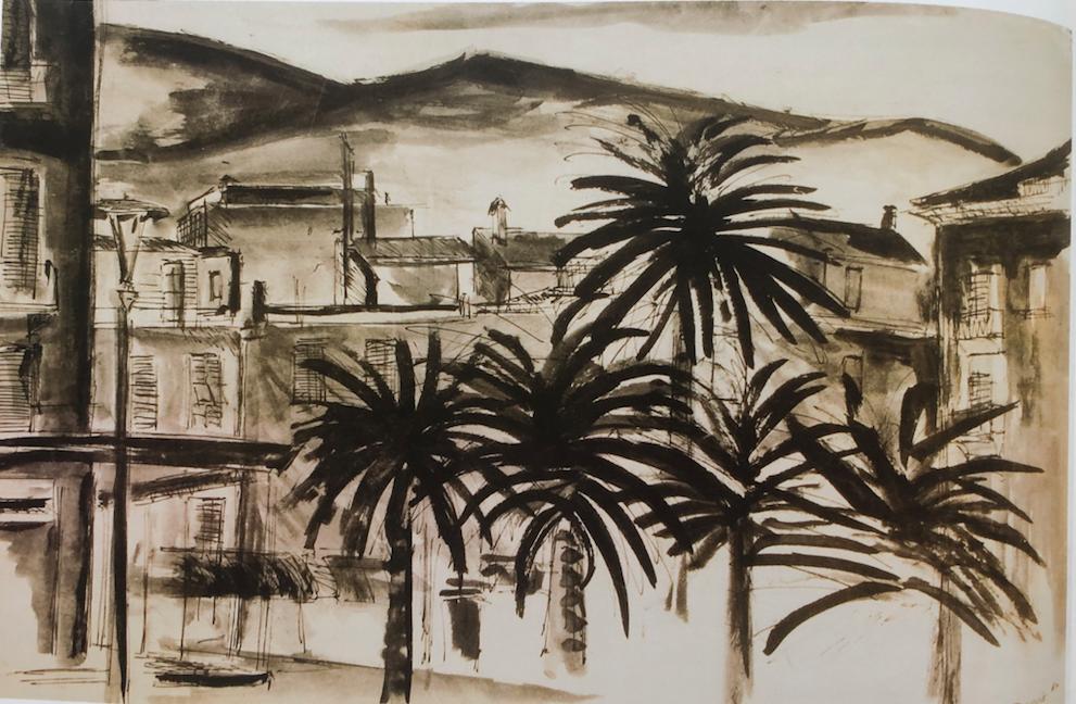 Een eerste kennismaking met Ceriale, Italie, 1960  - een expeditie. (Fons Bruijs, pen en Oost-Indische inkt)