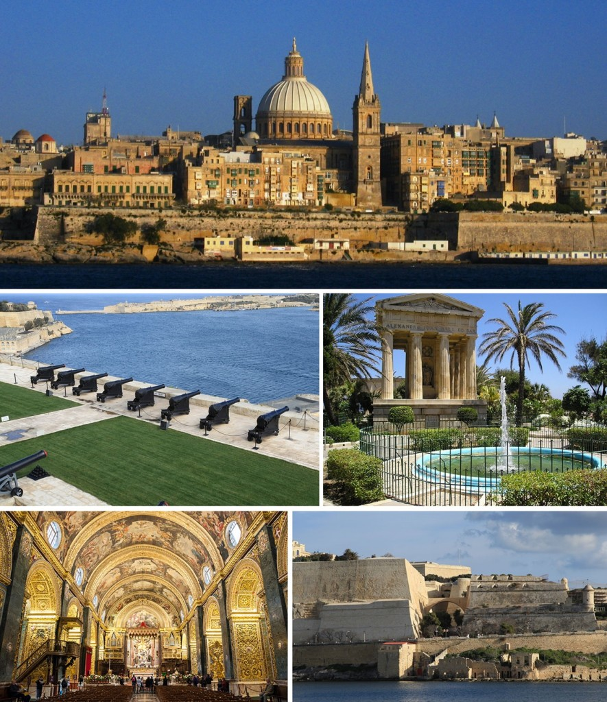 Bron: Wikicommons. (By Xwejnusgozo (montage)Boguslaw Garbacz, Briangotts, Ies, Coldsun2006 (original photos) - Cropped from File:Valletta skyline.jpg, File:Malta - Valletta - Pjazza Kastilja - Upper Barrakka Gardens - Saluting Battery 01 ies.jpg, File:Vallettaupperbarraccagardens.JPG, File:Malta, St John's Pro-Cathedral.jpg and File:Malta - Valletta - St. Michael's Bastion (Manoel Island) 01 ies.jpg, CC BY-SA 4.0, https://commons.wikimedia.org/w/index.php?curid=41167967