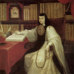 Portret van de non Sor Juana Inés de la Cruz (1648-1695) door Miguel Cabrera  (1695–1768) gemaakt rond 1750, olie op linnen (Museo Nacional de Historia (MNH)
